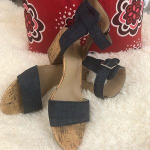 Denim & Cork Block Heel  Sandals